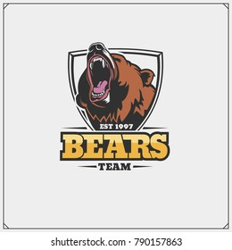 The emblem with bear for a sport team.