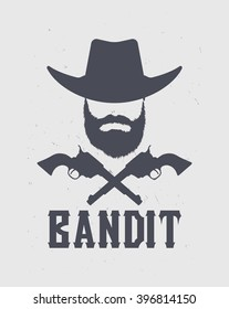 The emblem of the bearded bandit in the hat and with pistols