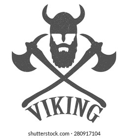Emblem Bearded Viking with axes