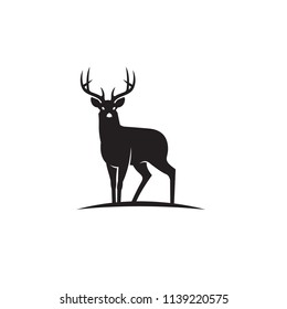 emblem of black deer isolated on white background
