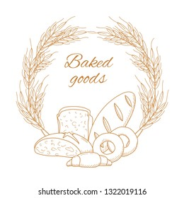 emblem of bread and ears of wheat with the inscription Baked goods. Vector
