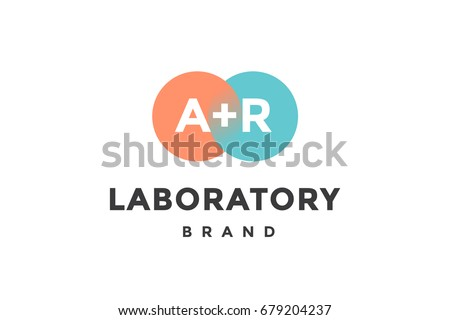 emblem of business company with two circle letter a r text laboratory