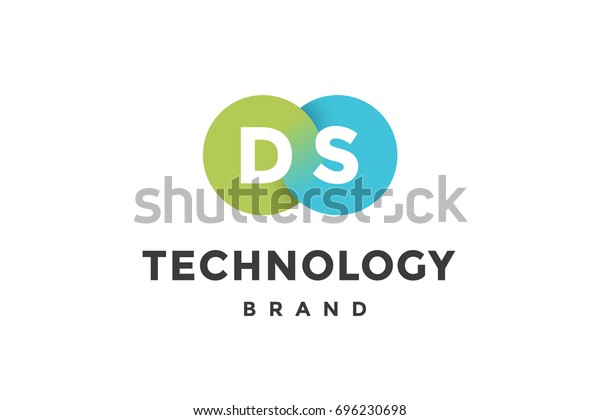 Emblem Business Company Two Circle Letter Stock Vector (Royalty Free