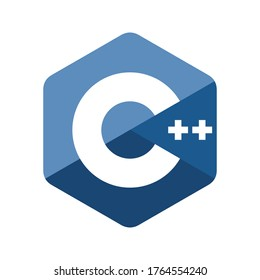 Emblem of C plus plus programming language. Blue hexagon with the letter C and two pluses inside.
