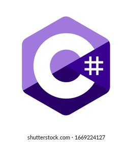 Emblem of C sharp programming language. Blue hexagon with the letter C and number symbol inside.