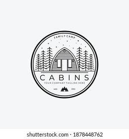 Emblem of Cabin Logo Line Art Design Vector Illustration Icon, Wooden Cabin, Cabin Forest, Cottage, Wood Cabin