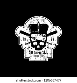 Emblem of campus baseball team with vintage texture for sticker, tag and t-shirt design. White print on black background