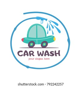 The emblem of the car wash. Vector illustration in cartoon style. Small car at the car wash, the emblem in the circle formed by the hose with water.