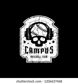 Emblem of college baseball team with vintage texture for sticker, tag and t-shirt design. White print on black background