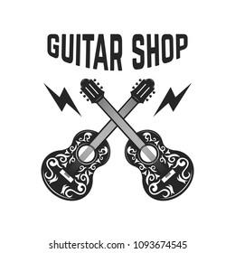 Emblem with crossed guitars. Design elements for logo, label, sign, poster. Vector image