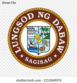 Emblem of Davao City. City of Philippines. Vector illustration