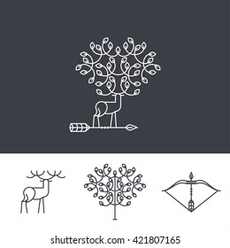 emblem - a deer, a tree and an arrow made in trendy linear style