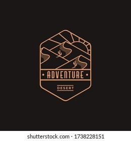 Emblem Desert landscape adventure explore park outdoor logo icon with line art style on black background