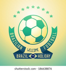 Emblem design for football holiday in Brazil with ball and ribbons. Vector eps 10