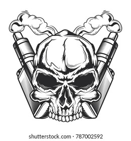 Emblem design with illustration of skull, steam and electronic vaperizers