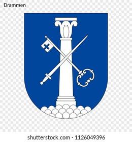Emblem of Drammen. City of Norway. Vector illustration