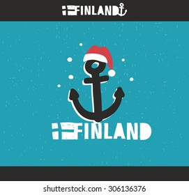 Emblem of Finland with hand drawn image in vintage style. Vector doodle illustration.