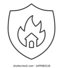 Emblem of fire protection thin line icon. Symbol of house in fire shield outline style pictogram on white background. Property burning safety logo for mobile concept and web design. Vector graphics