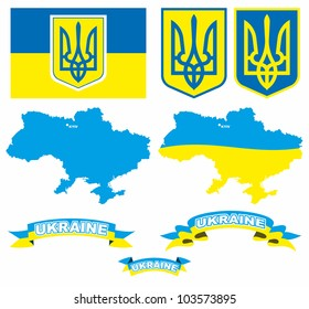 Emblem, flag and map of Ukraine in vector, isolated over white