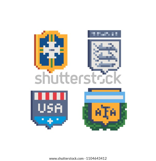 Emblem Football Team Pixel Art Icons Stock Vector Royalty