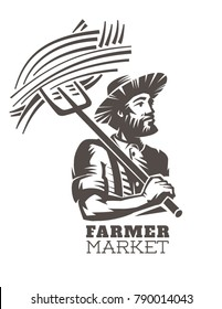 Emblem, fresh local produce. Farmer with pitchforks in hands