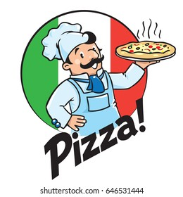 Emblem of funny cook or baker with pizza and logo