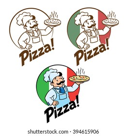 Emblem of funny cook or chef  or baker with pizza and logo on background colors of the Italian flag. Two monochrome and one fullcolor version. Children vector illustration.