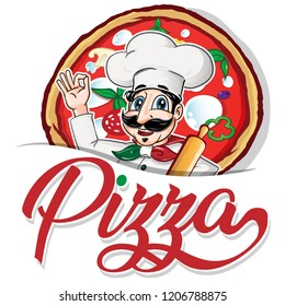 Emblem of funny italian Chef on pizza  background