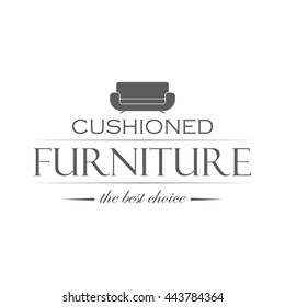 Emblem of furniture store on white background. Shop logotype with couch silhouette. Monochrome vector illustration in modern style.