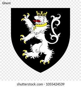 Emblem of Ghent. City of Belgium. Vector illustration