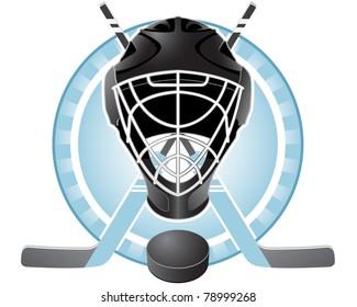 Emblem with goaltender helmet, hockey sticks and puck