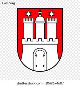 Emblem of Hamburg. City of Germany. Vector illustration