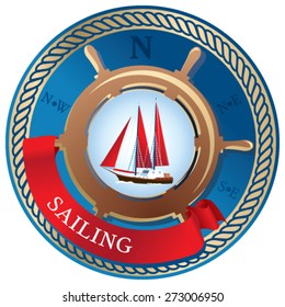 Emblem with the helm, sailboats and ribbon