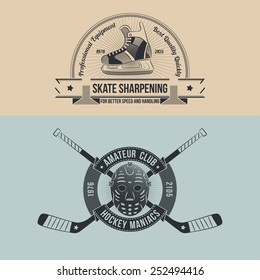 The emblem of the hockey club with retro goalie mask and crossed sticks. Logo sharpening skates in old-school style.