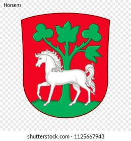 Emblem of Horsens. City of Denmark. Vector illustration