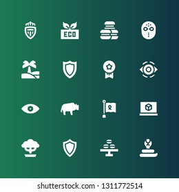 emblem icon set. Collection of 16 filled emblem icons included Cobra, Macaron, Shield, Bonsai, d printing software, Ribbon, Bison, Eye, Medals, Oasis, Hockey mask, Macarons, Eco