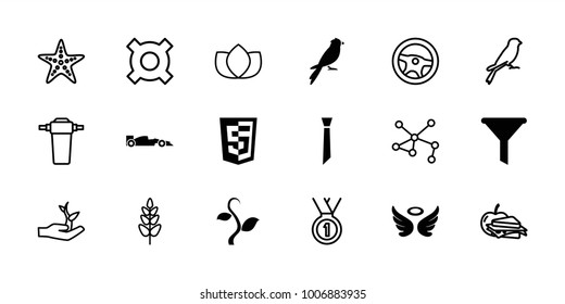 Emblem icons. set of 18 editable filled and outline emblem icons: wings, filter, shield, sport car, sparrow, lotus, wheel, sandwich and apple, illustrgeneric currencyation