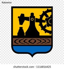 Emblem of Katowice. City of Poland. Vector illustration