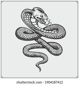 The emblem with king cobra for a sport team. Print design for t-shirt.