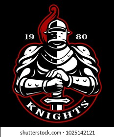 Emblem of knight with sword on dark background. Logo design. Text is on the separate layer.