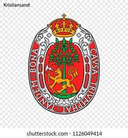 Emblem of Kristiansand. City of Norway. Vector illustration