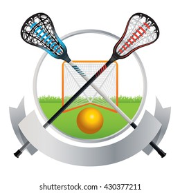 An emblem for a lacrosse match with sticks, ball, and goal. Vector EPS 10 available.