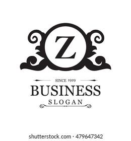 Emblem Letter Z logo. Vintage luxury emblem. Flourishes calligraphic Monogram design elements, Elegant Calligraphic pattern on vector logo. Black and white monogram vector illustration