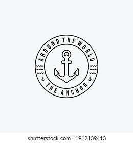 Emblem Line Art of Anchor Ship Logo Vector Design Illustration, Concept of Pirates and Coastguard Maritime