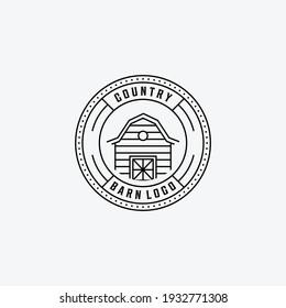 Emblem of Line Art Barn Vector Logo, Illustration Design of Vintage Badge of Barn Storehouse Farmhouse Concept