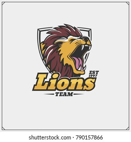 The emblem with lion for a sport team.