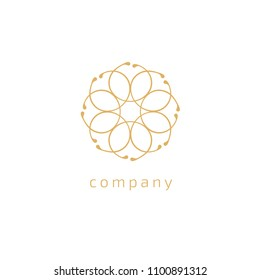 Emblem luxury beauty spa, cosmetics, jewerly, restaurant. Wedding elegant outline frame. Vector floral luxury curve logo design. Round gold ornate frame. Vintage premium design vector element.