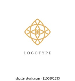 Emblem luxury beauty spa, cosmetics, jewerly, hotel, restaurant. Wedding elegant outline frame. Vector floral luxury curve logo design. Round gold ornate frame. Vintage premium design vector element.