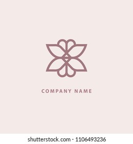 Emblem luxury beauty spa, cosmetics, jewerly, restaurant. Wedding elegant outline ornament. Vector floral luxury curve logo design. Ornate patten frame. Vintage premium design vector element.