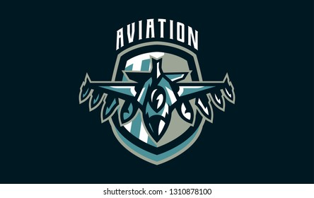 The emblem of a military aircraft. Aircraft logo. Military equipment, wings, fighter, plane, jet, war, bomber, airplane, airscrew, airforce. Vector illustration